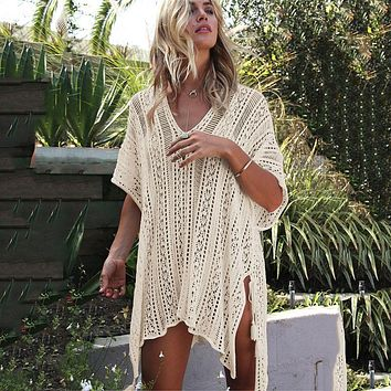 New Swimwear 2018 Swimsuit Women Cover Ups Sleeve Kaftan Beach Dress Robe De Plage Solid White Cotton Pareo Beach Cover Up