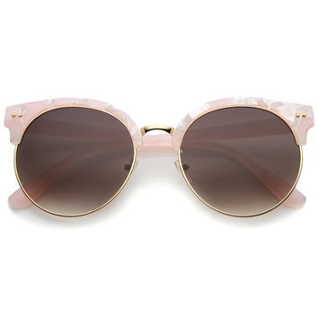 Oversize Women's Marble Half Frame Round Sunglasses A243