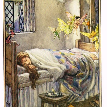 "Cicely Mary Barker Print -  ""MAB WILL PINCH HER BY THE TOE"" - Offset Lithograph - c1930"