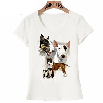 I Love my friend Bull Terrier art maiden T-Shirt Summer novelty women t-shirt funny dog print cute girl Tops ladies casual Tees