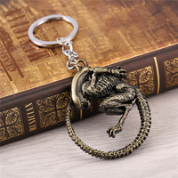 J Store Movie Souvenir Aliens Predator AVP Keychain 5.2x5.2cm Horror Films Alien Queen Alloy 2 Colors Key Chain Ring Men Jewelry