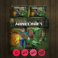 Minecraft fleece blanket large with 2 pillow cases #95893425-95893426 - FREE SHIPPING WORLD WIDE