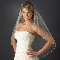 Delicately Beaded Edge Fingertip Length Wedding Veil