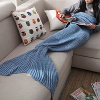 Comfortable Knitted Mermaid Sofa Blanket Autumn&Winter