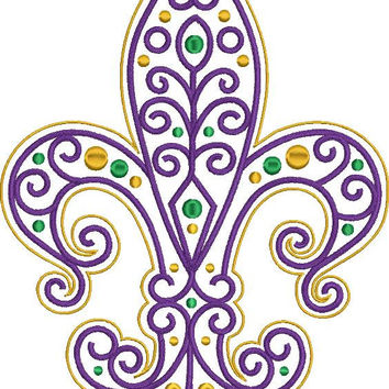 MARDI GRAS Fleur de lis Embroidery Design Filigree 4x4 5x7 8x10 inch hoops Instant DOWNLOAD