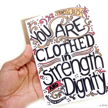 "She is Clothed in Strength Card. Proverbs 31:25. Scripture Gifts. Hand Drawn Typography. 5 x 7"" greeting card."