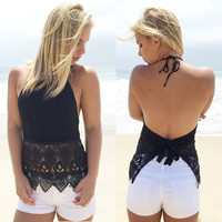 Backless Sling lace blouse