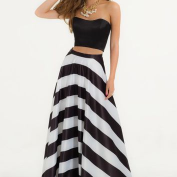 Strapless Crop Top with Rhinestone Grommets