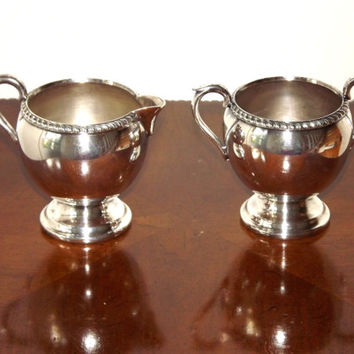 Vintage Silver Sugar and Creamer Set with Tray, Ornate Sheffield Silver Plate Serving SeT