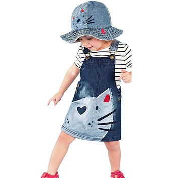 Baby Girls Kids Cat Denim Dresses New Braces Jeans Dresses Girls Cute Suspender Overalls Kids Casual Denim Clothes