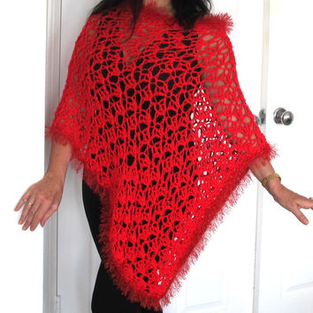 Asymmetrical Red Lacy Poncho with fur trim