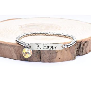 Beaded Inspirational Bracelet With Crystals From Swarovski By Pink Box - Be Happy
