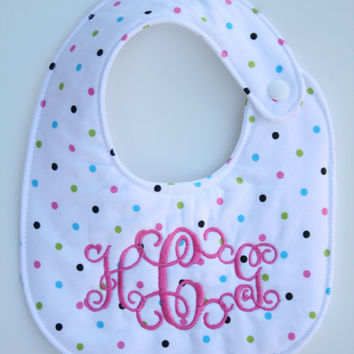 Personalized bib, Monogrammed bib, Baby shower gift, Seersucker bib, You Customize