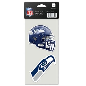 "SEATTLE SEAHAWKS 4""X4"" DIE CUT DECAL 2-PACK CAR HOME BRAND NEW WINCRAFT"
