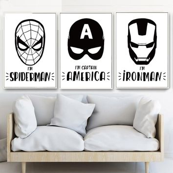 Black and White Super Hero Spider Man Iron Man Batman Captain Canvas Painting Poster Wall Art Picture Living Room Home Decor
