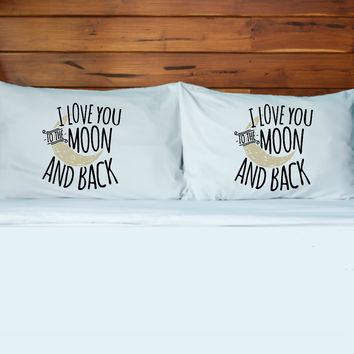 Moon and Back Pillow Case