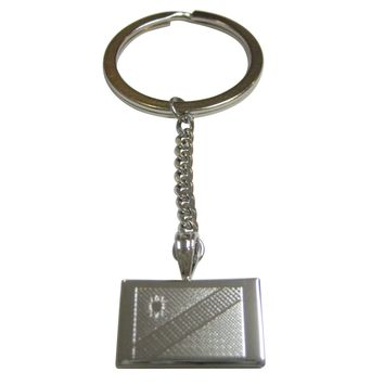 Silver Toned Etched Namibia Flag Pendant Keychain