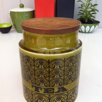 Fantastic green Hornsea Scroll tea canister!! Rare! ReTrO KiTcHeN!!
