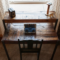 Repurposed Pallet Wood Desk, Tiered with Metal Legs