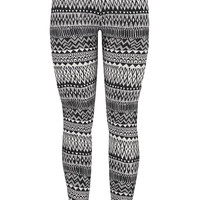 Ethnic Print Legging - Black Combo