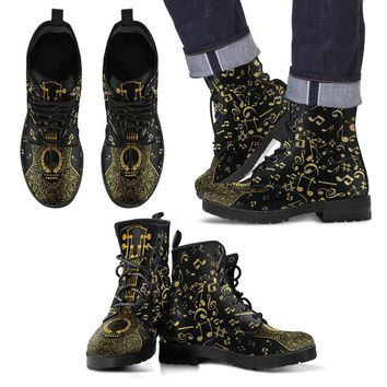 Gold Music Notes Men's Leather Boots