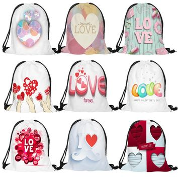 Love Words Drawstring Bags Cinch String Backpack Funny Funky Cute Novelty