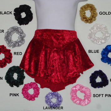 Adult Figure Skating Skirts Crushed Velvet XS S M L XL Practice Black White Blue Red Green Pink Purple Gold Silver Lavender BUY 3 Save 15%