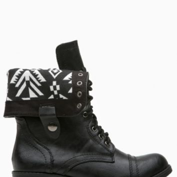 Black Faux Leather Aztec Print Combat Boots @ Cicihot Boots Catalog:women's winter boots,leather thigh high boots,black platform knee high boots,over the knee boots,Go Go boots,cowgirl boots,gladiator boots,womens dress boots,skirt boots.