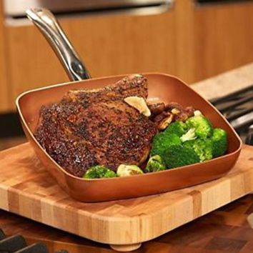 Copper Chef Fry Pan Kitchen Cookware Steel Ceramic 9.5 Deep Square Frying W Lid