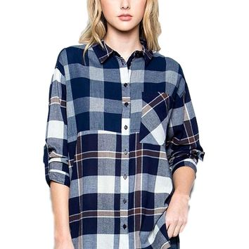 Check Shirt with Roll-Up Sleeve, Navy