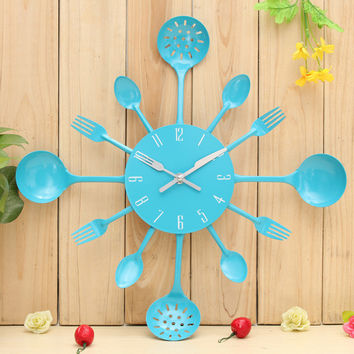 Brand New Hign Quality Metal Kitchen Cutlery Utensil Wall Clock Spoon Fork Ladel Home Christmas Decor A great gift Colorful