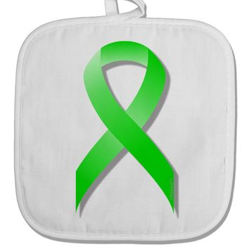 Lyme Disease Awareness Ribbon - Lime Green White Fabric Pot Holder Hot Pad