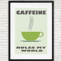 Typography quote print, Kitchen art, Coffee print, C Ya Monday poster, Motivational wall art, Coffee art, mid century modern, Morning Coffee