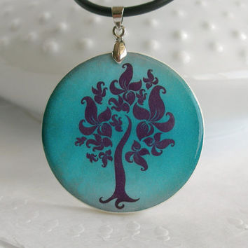 Deep Turquoise - Purple Tree Vector Art, Glazed  Polymer Clay Necklace
