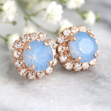 Blue Opal Studs, Blue Silk Earrings,Bridesmaids Blue Earrings,Rose Gold Earrings,Bridal Earrings, Powder Blue Studs,Bridal Blue Silk Studs