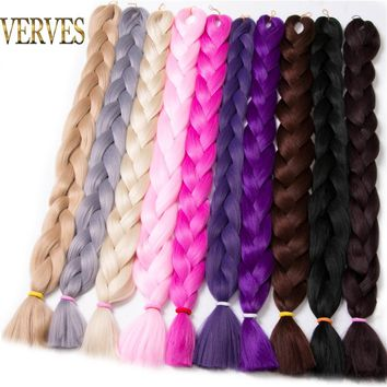 VERVES Synthetic Braiding Hair kanekalon 82 inch 165g/pcs Jumbo Braid Bulk African Hair Crochet Hair extensions,yaki texture