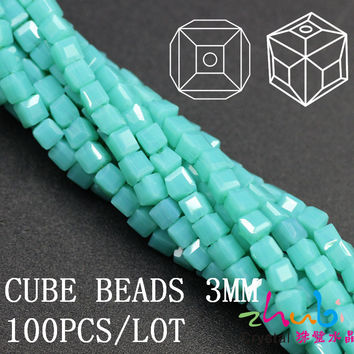 Hot Fashion 100Pcs/lot 3mm Turquoise Faceted Crystal Glass Beads Glass Cube Beads 5601# Chunky Necklace Beads