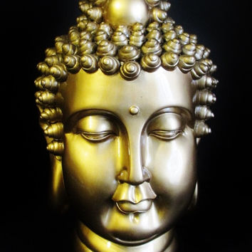 Meditating Buddha Head in gold Finish Eastern Enlightenment Religion 15""