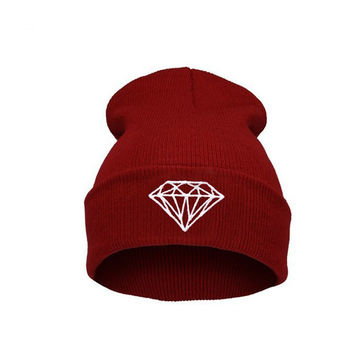 Hot Sale Personality diamond Pattern hip-hop Hat knitting wool Spring Autumn Winter Multi Colors Beanie hats For women and men