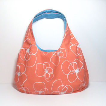 Coral Hobo Bag, Floral Hobo Bag, Coral and Aqua, Sling Hobo Bag, Medium Hobo Bag, Hobo Bag Purse, Coral Flowers Bag, Casual Bag