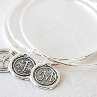 ON SALE Set of 3 Personalized Bracelets, Monogram Jewelry, Personalized Jewelry, Initial Stamped Charm Silver Bangles, Bridesmaid Gifts