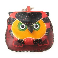 Owl Bird Animal Handmade Coin Purse with Wrist Strap and Key Split Ring