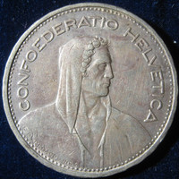 1932 Swiss Silver Coin, Switzerland 5 Francs Silver Coin, Vintage Silver Coin, Collectable Silver COIN, Old Silver Five Francs Coin  KM# 40