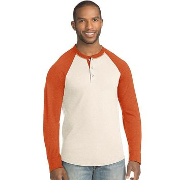 Hanes Men's FreshIQ X-Temp Colorblock Long-Sleeve Raglan Henley Tee Style: 5A60-Oatmeal Heather/Dark Horizon Orange Natural Heather M