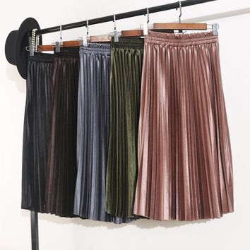 High waist gold velvet pleated half skirt female long section autumn winter 2017 new Korean version tide organ A word skirts