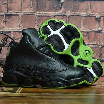 Kids Air Jordan 13 Retro Black/Green Sneaker Shoe Size US 11C-3Y