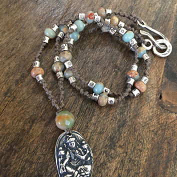 Buddha Necklace Gemstone Silver Hand Knotted Rustic Beaded Jewelry by Two Silver Sisters twosilversisters