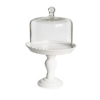 American Atelier Bianca Pedestal Cake Plate with Glass Dome
