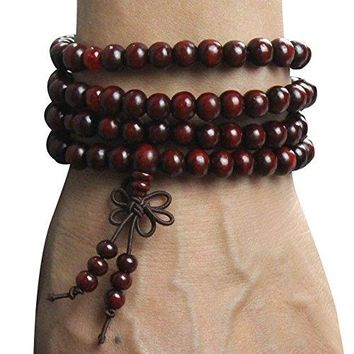 Tibetan 216pcs 6mm Rosewood Prayer Beads Buddha Mala Buddhist Bracelet Necklace