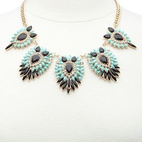 Clustered Faceted Stone Collar Necklace